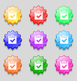 Check mark tik icon sign symbol on nine wavy vector image vector image