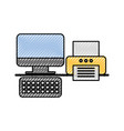 computer and printer office business device vector image vector image