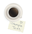 Cup with black coffee with a note vector image vector image