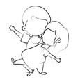 cute kids in love cartoon vector image