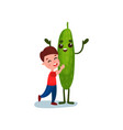 cute little hugging giant cucumber vegetable vector image