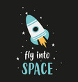 cute poster with space rocket vector image