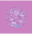 dinosaur set in a circle isolated on a pink vector image vector image