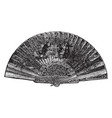 fan of a peacocks tail vintage engraving vector image