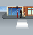 father and son waiting at traffic light vector image vector image