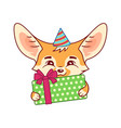 fennec fox in a party hat with gift box amusing vector image vector image