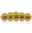 five gold coins bitcoin vector image