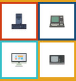 flat icon laptop set of vintage hardware vector image vector image