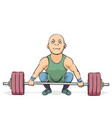 funny cartoon weightlifter vector image vector image