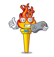 gamer torch mascot cartoon style vector image vector image