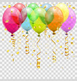 golden streamer balloons and confetti vector image