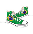 hand draw modern sport shoes with Brazilian flag vector image vector image