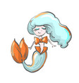 happy little mermaid with blue hair and bow vector image