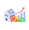 home with money and percent symbol vector image