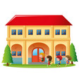 kids going into the building vector image