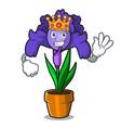 king iris flower mascot cartoon vector image