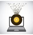 laptop and music design vector image vector image