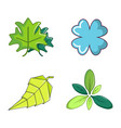 leaf icon set cartoon style vector image vector image