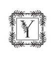 letter y alphabet with vintage style frame