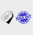 linear dollar tags icon and grunge sold out vector image vector image