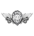 lion with floral and wings vector image vector image