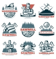 Lumberjack Custom Woodworks Emblems vector image vector image