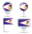 Map pins with flag of American Samoa vector image vector image