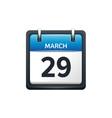March 29 Calendar icon flat vector image