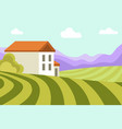 neat small house among wide green fields and high vector image