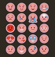 pink smile emojis collection with dark background vector image
