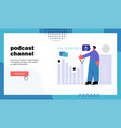 podcast channel website landing page vector image