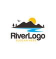 river mountain logo design template vector image vector image