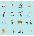 Road worker flat icon vector image vector image