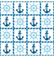 seamless pattern of sea anchors and helm vector image vector image