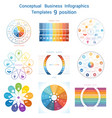 set infographics conceptual cyclic processes nine vector image