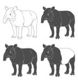 set of black and white of tapir vector image vector image