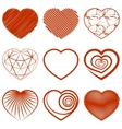 Set of heart shapes icons vector image vector image