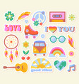 set of hippie retro vintage icons in 70s-80s style vector image