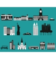 silhouettes famous cities vector image vector image