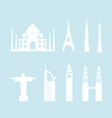 skyline tower building christ statue taj mahal vector image