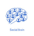 social brain with human icons vector image vector image