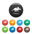 styracosaurus icons set color vector image vector image