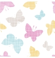 Textile textured colorful butterflies seamless vector image