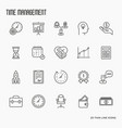 time management thin line icons vector image vector image