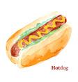 Watercolor tasty hotdog in vintage style vector image vector image