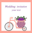 wedding card with bicycle and flowers vector image vector image