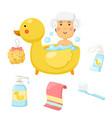 woman takes a bath set vector image vector image