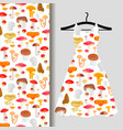 women dress fabric pattern with mushrooms vector image vector image