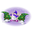 funny snowman between the christmas trees eps10 vector image