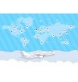 world map and airplane vector image